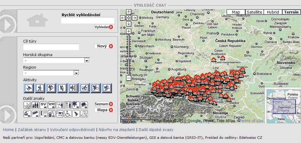 Vyhledávač chat Alpenverein